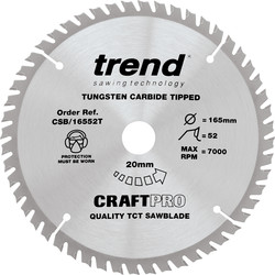 Trend Trend Craft Thin Kerf Circular Saw Blade 165 x 52T x 20mm CSB/16552T - 60567 - from Toolstation