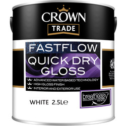 Crown Trade Crown Trade Fastflow Quick Dry Gloss Paint 2.5L White - 60709 - from Toolstation