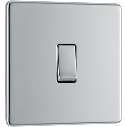 BG BG Screwless Flat Plate Polished Chrome 10AX Light Switch 1 Gang Intermediate - 60800 - from Toolstation