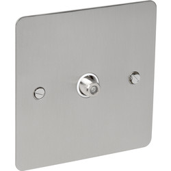 Axiom Flat Plate Satin Chrome Satellite Socket Outlet Satellite Single - 61041 - from Toolstation