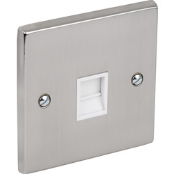 Satin Chrome / White Telephone Socket Slave - 61224 - from Toolstation