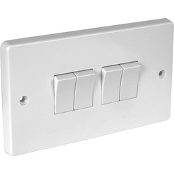 Crabtree Crabtree 10A Light Switch 4 Gang 2 Way - 61254 - from Toolstation