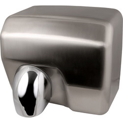 Automatic Hand Dryer Brushed Chrome 2500W - 61305 - from Toolstation