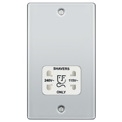 BG Polished Chrome Dual Voltage Shaver Socket