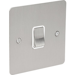 Flat Plate Satin Chrome 10A Switch 1 Gang 2 Way - 61405 - from Toolstation