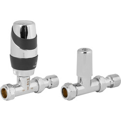 Pegler Yorkshire Pegler Decorative TRV and Lockshield Anthracite and Chrome Straight 15mm - 61461 - from Toolstation
