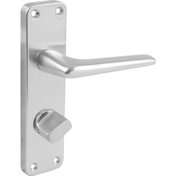 Unbranded Aluminium Door Handles Bathroom Satin 154 x 41mm - 61481 - from Toolstation