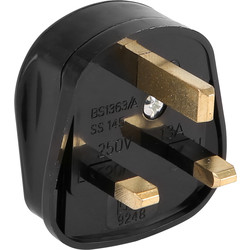 Unbranded Fused 3 Pin Tough Plug 13A Black - 61596 - from Toolstation