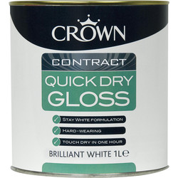 Crown Contract Crown Contract Quick Dry Gloss Paint Brilliant White 1L - 61621 - from Toolstation