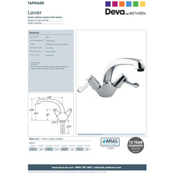 Deva Contract Lever Mono Mixer Kitchen Tap
