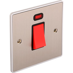 Urban Edge Urban Edge Brushed Chrome 45A DP Cooker Switch Switch + Neon 1 Gang - 61986 - from Toolstation