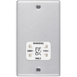 BG Brushed Steel Dual Voltage White Insert Shaver Socket