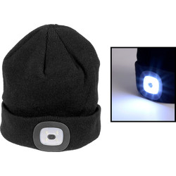 Flash LED Headlight Beanie 150lm Black - 62158 - from Toolstation