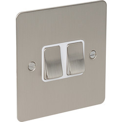 Flat Plate Satin Chrome 10A Switch 2 Gang 2 Way - 62329 - from Toolstation