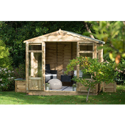 Forest Forest Garden Overlap Pressure Treated Oakley Summerhouse 222cm (h) x 258cm (w) x 193cm (d) - 62457 - from Toolstation