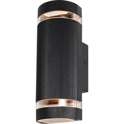Zinc Zinc Helios IP44 Up & Down Black Wall Light 2 x GU10 - 62537 - from Toolstation