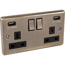 Wessex Electrical Antique Brass Double USB Socket 2 Gang - 63115 - from Toolstation