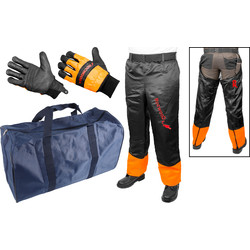 Chaps & Holdall Starter Chainsaw Safety Kit Gloves, Chaps & Holdall - 63190 - from Toolstation