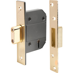Yale BS 5 Lever Mortice Deadlock 76mm Polished Brass - 63236 - from Toolstation