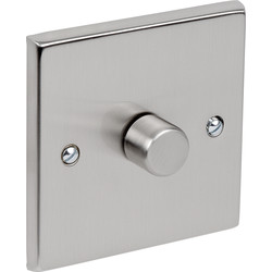 Satin Chrome Dimmer Switch 400W 1 Gang 1 Way - 63420 - from Toolstation