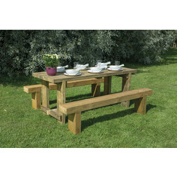 Forest Forest Garden Refectory Table and Sleeper Bench Set 75cm (h) x 180cm (w) x 70cm (d) - 63424 - from Toolstation