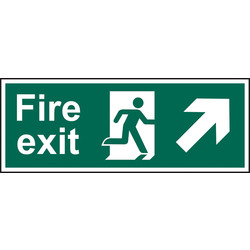 Fire Safety Sign Fire Exit Up/Right 400 x 150 - 63530 - from Toolstation