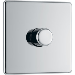BG Screwless Flat Plate Polished Chrome Dimmer Switch 1 Gang 2 Way 400W Push