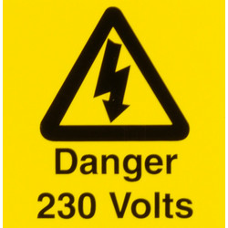 Electrical Warning Signs Danger 230 Volts - 63984 - from Toolstation