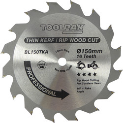 Toolpak Thin Kerf TCT Blade 150 x 10 x 16mm - 64055 - from Toolstation