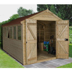 Forest Forest Garden Tongue & Groove Pressure Treated Shed - Double Door 12' x 8' - 64070 - from Toolstation