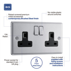 BG Brushed Steel 13A DP Black Insert Switched Socket
