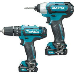 Makita Makita CLX202AJ 10.8V CXT Cordless Combi Drill & Impact Driver Twin Pack 2 x 2.0Ah - 64305 - from Toolstation