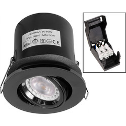 Fire Rated Adjustable IP20 GU10 Downlight Black Nickel - 64352 - from Toolstation