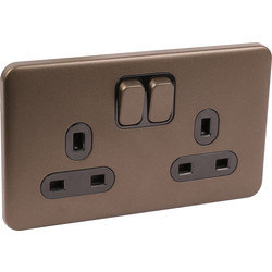 Schneider Schneider Lisse Mocha Bronze Screwless 13A Switched Socket 2 Gang - 64446 - from Toolstation