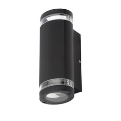 Zinc Helix Up & Down Black Wall Light IP44