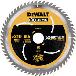 DeWalt DeWalt Extreme Runtime Circular Saw Blade 210mm x 60T x 30mm - 64997 - from Toolstation