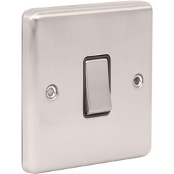 Wessex Wiring Wessex Brushed Stainless Steel Switch 1 Gang 2 Way - 65071 - from Toolstation