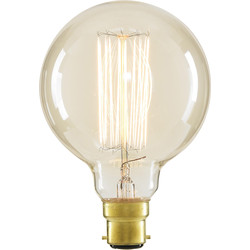 Inlight G95 Vintage Incandescent Decorative Dimmable Lamp 40W BC (B22d) Clear 140lm - 65166 - from Toolstation