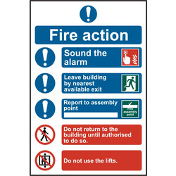 PVC Fire Action Safety Sign Fire Action Procedure - 65348 - from Toolstation