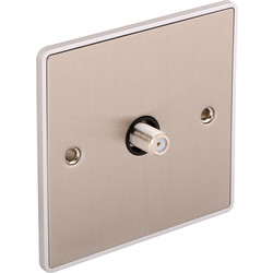Urban Edge Urban Edge Brushed Chrome TV/ Satellite Socket Satellite 1 Gang - 65376 - from Toolstation