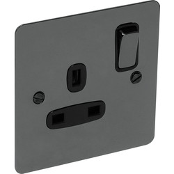 Flat Plate Black Nickel 13A Socket 1 Gang Switched SP - 65523 - from Toolstation