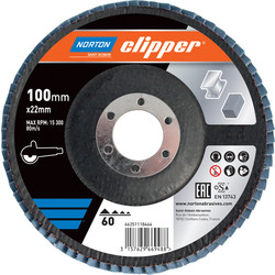 Norton Flap Disc 100mmx16mm 60 Grit - 65601 - from Toolstation