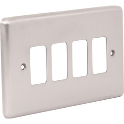 Wessex Wiring Wessex Brushed Stainless Steel Grid Front Plate 4 Gang - 65610 - from Toolstation
