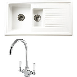 Reginox Reginox 1 1/2 Bowl Ceramic Kitchen Sink & Drainer White With Chrome Tap - 65776 - from Toolstation