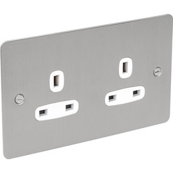 Flat Plate Satin Chrome 13A Socket 2 Gang Unswitched - 65810 - from Toolstation