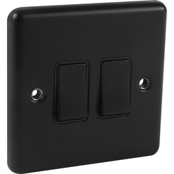Wessex Electrical Wessex Matt Black Switch 2 Gang 2 Way - 66070 - from Toolstation