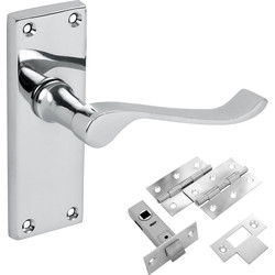 Hiatt Victorian Scroll Polished Handle Latch Door Pack - 66749 - from Toolstation