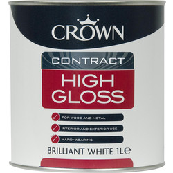 Crown Contract Crown Contract High Gloss Paint Brilliant White 1L - 66831 - from Toolstation