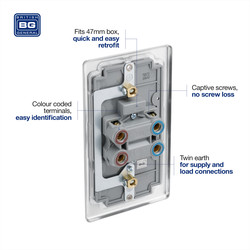 BG Brushed Steel 45A Double Pole Switch