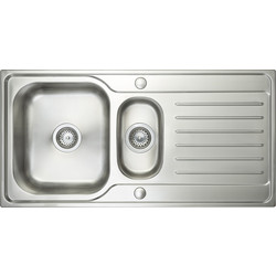 Maine Stainless Steel 1 1/2 Bowl Kitchen Sink & Drainer 1000 x 500 x 200mm Deep - 67030 - from Toolstation